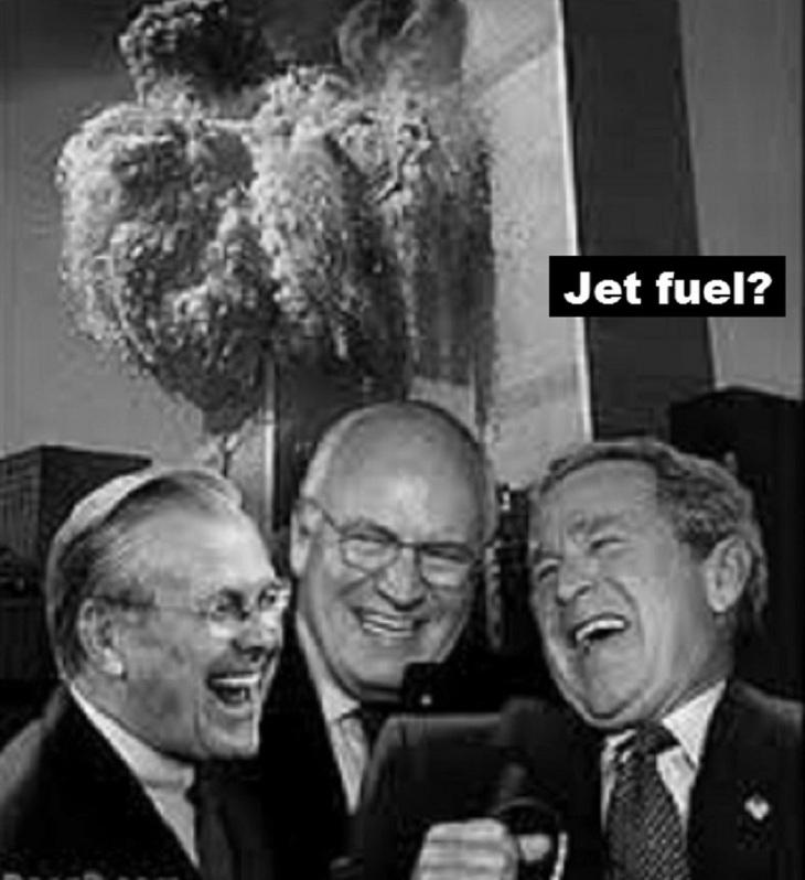Rumsfeld Cheney Bush jet fuel black and white
