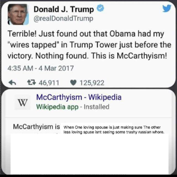 Trump Russian McCarthyism Tweet