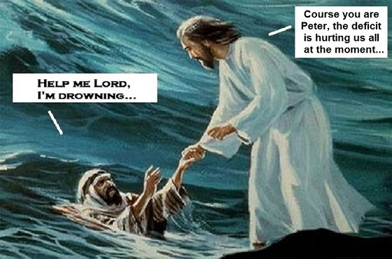 Christ and Peter US Fed deficit drowning 560
