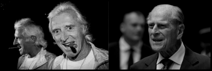 Prince Phillip and Jimmy Saville BW 800