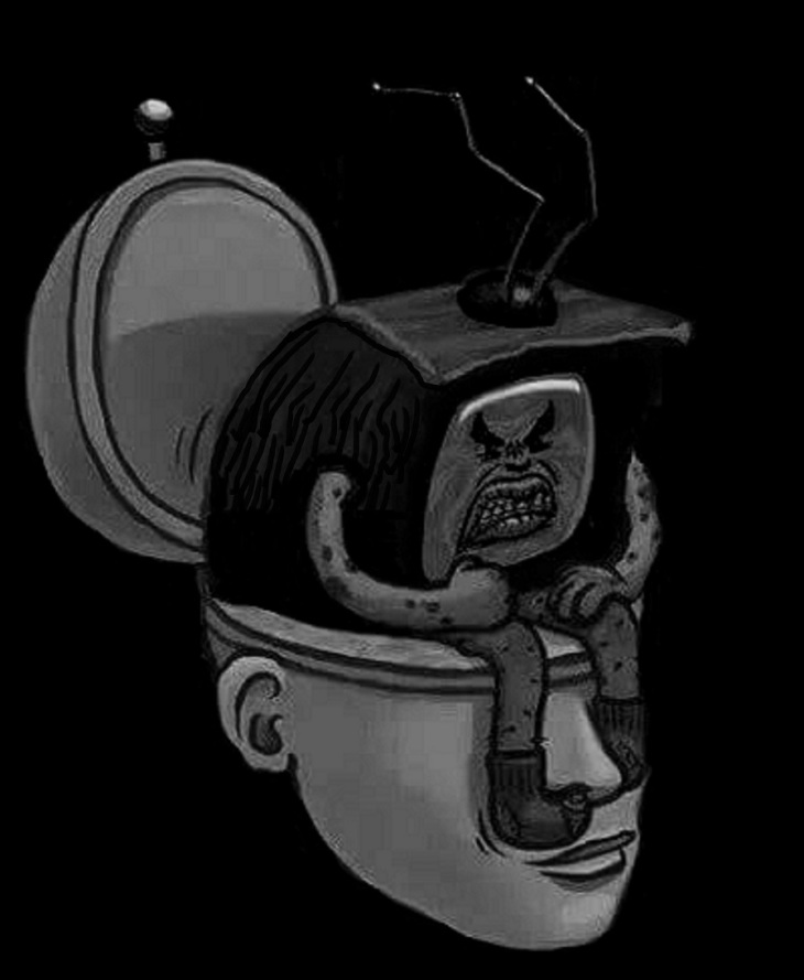TV on toilet Darker BW EDIT