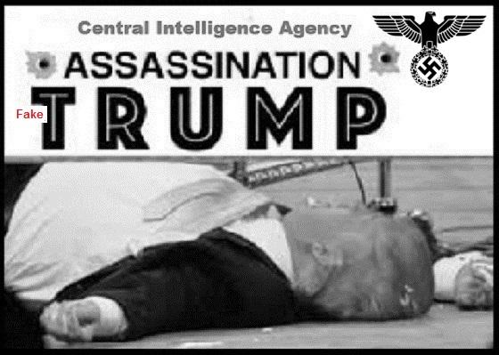 Trump Nazi assassination FAKE RED BW 560