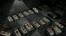 Bloody dead babies in crib