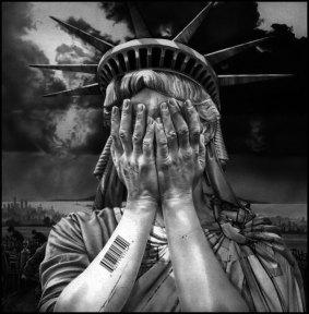 Lady Liberty lost Bar Code BW Large