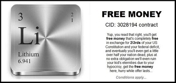 Lithium free money contract 560