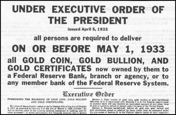 Rossevelt's gold order 600