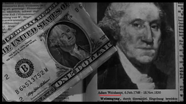One dollar bill x Adam Weishaupt BW RED UNDERLINE Border