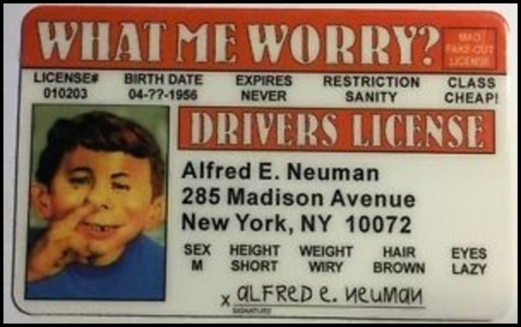 Alfred E. Newman proof of identity