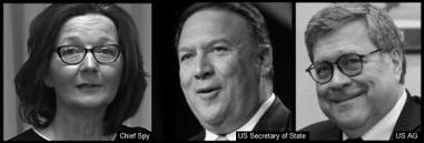 Haspel Pompeo Barr Head Spy Secretary of State US AG 600