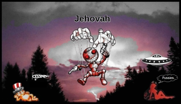 GOOD Jehovah Garfield female devil PLUS flying saucer and pussy and STAN 600