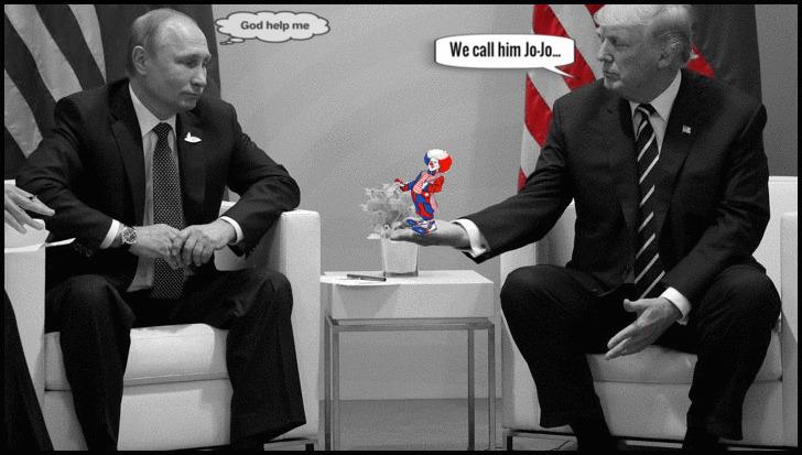 Trump's (Putin) magic red white and blue clown