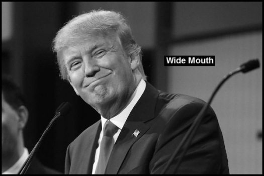 Trump Smirk fake WIDE MOUTH BW 600