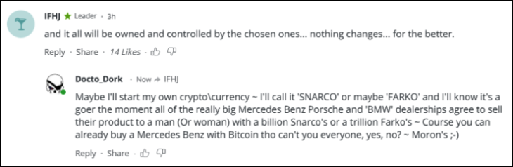 RT Bitcoin Snarco's and Farko's comment
