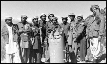 Afghanistan Mujahideen soldiers with bomb 600 BW