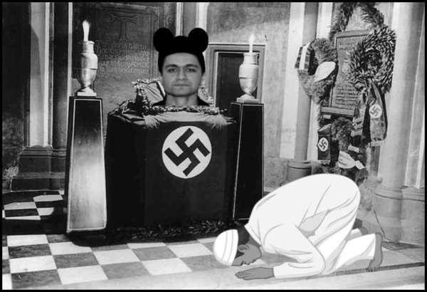 Mickey Mouse Atta Muslim Prostrated Nazi shrine altar 600