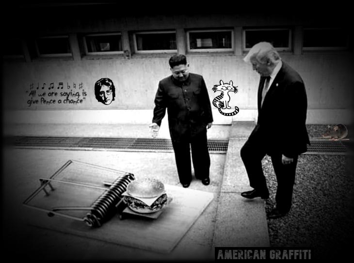 Trump Lennon Kim Jong Un cat mouse American graffiti