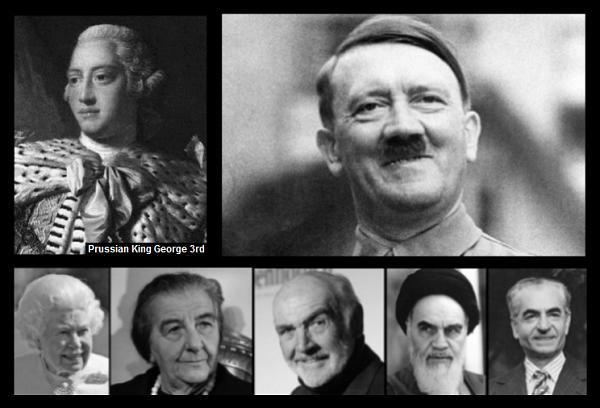 KIng George Hitler Queen Meir Connery Ayatollah Shah 600