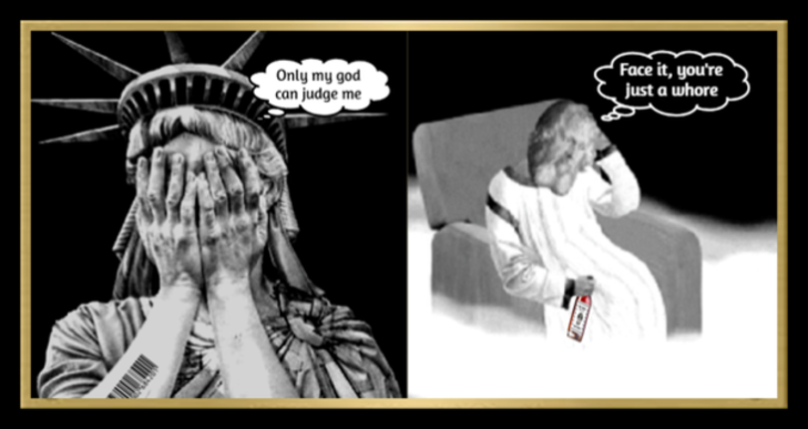 LADY LIBERTY AND GOD as posted + BLACK BORDER