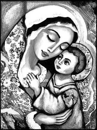 Madonna and child Mexican BW