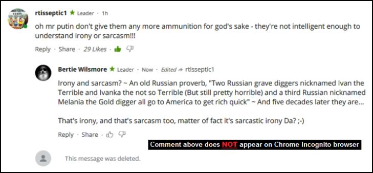 RT Putin x Ivan Ivanka Melania gold digger x sarcasm Irony comment