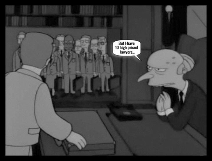 Ten high priced lawyers Monty Burns BW