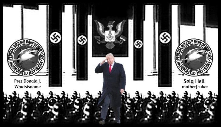 Nazi graphic Prez Donald J. Whatsisname _ Seig Heil motherfcuker US Fed Shark