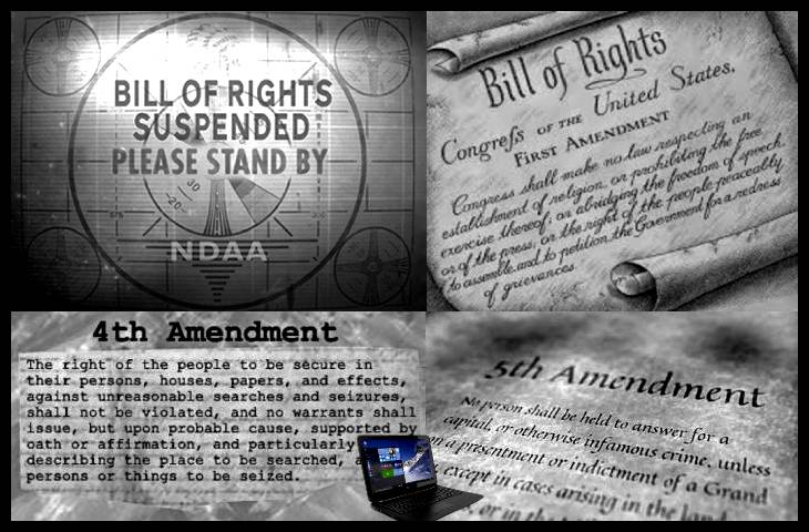 Bill of Rights suspended 1st 4th and 5th + Laptop BORDER