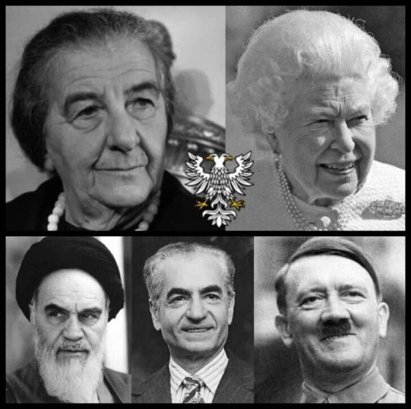 Golda Meir British Queen double headed Prussian Eagle Ayatollah Shah Hitler 600
