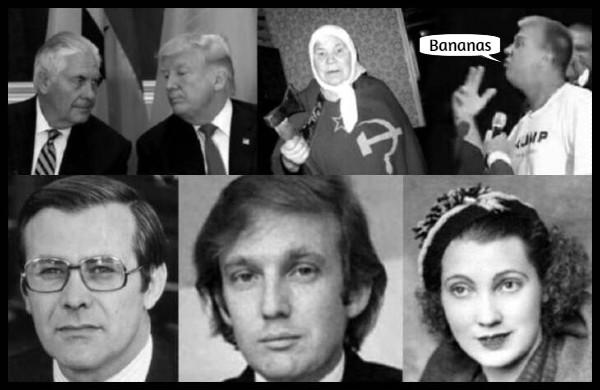 Tillerson fake Trump Russian mother DAVE plus Rumsfeld original Trump and mother Mary BANANAS 600