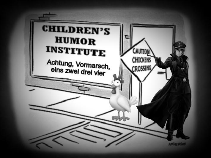 Children's 710 humor institute chicken's crossing with chicken ADJ 710