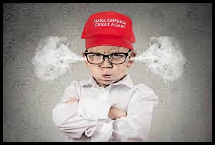 MAGA Kid blowing off temper steam out of ears LQ 730 BORDER10
