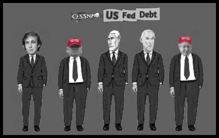 Trumps (s) Pence Stone Johnson US Fed Debt Cessna 730