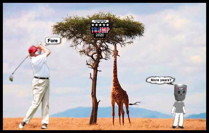 Tall Giraffe and tree Trump golfer four more years paper bag voter 730 BORDER10