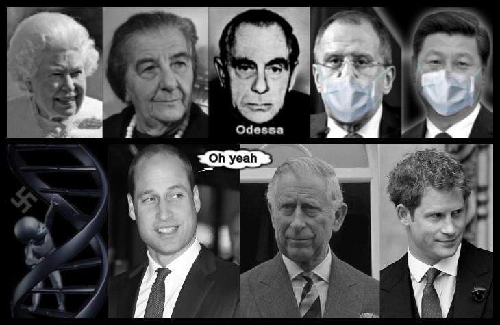Queen Golda Kutschmann Odessa Lavrov JinPing mask Prince Harry Charles William Swastika 730 DNA Child